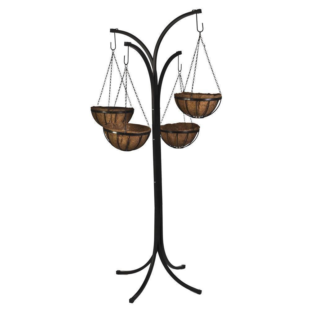 CobraCo 12 in. Metal Hanging Basket with Tree Stand (4 ... on Stand For Hanging Plants  id=46188