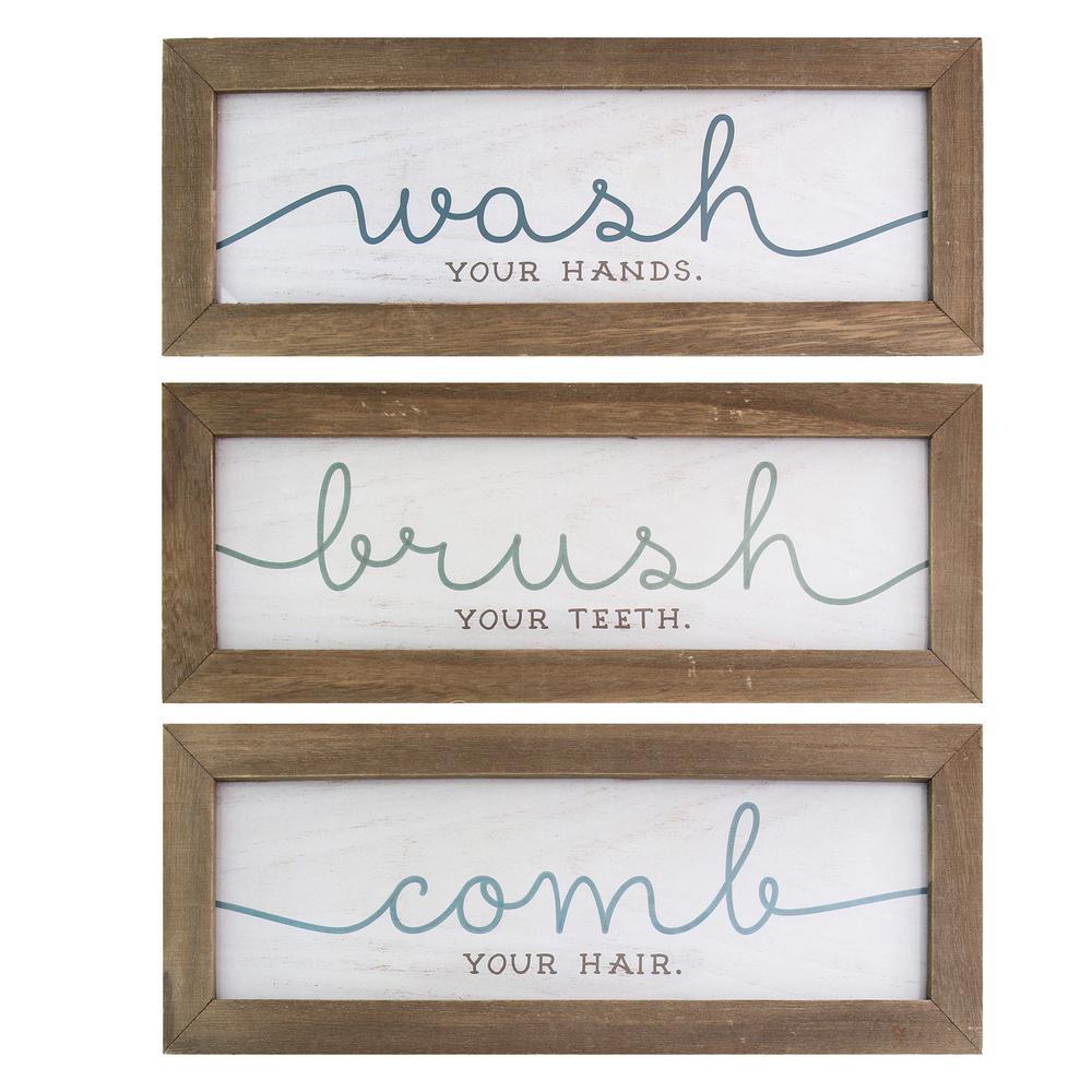 Stratton Home Decor Wash, Brush, Comb Bath Art (Set of 3 ... on Home Wall Decor Signs id=51575