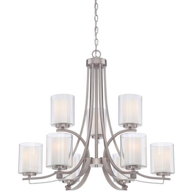 Minka Lavery Parsons Studio 9 Light Brushed Nickel Chandelier 4109 84 The Home Depot