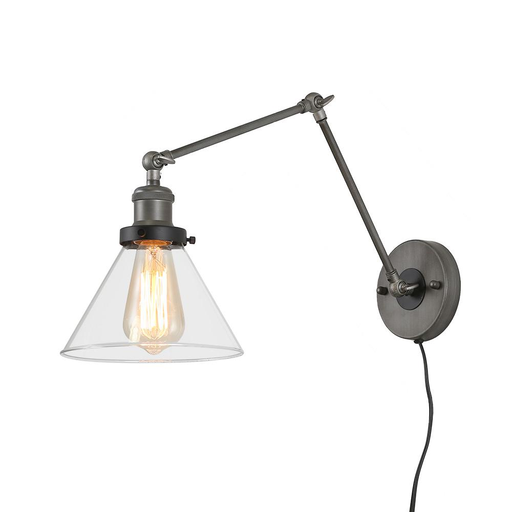 LNC 1-Light Grey Plug-In Wall Lamps Adjustable Clear Glass ... on Plugin Wall Sconce Lights id=89960