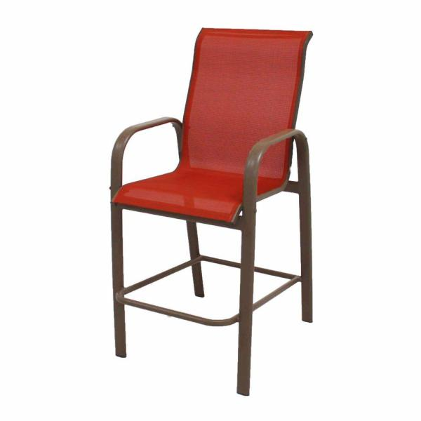 Marco Island Brownstone Commercial Grade Aluminum Bar Height Patio     Marco Island Brownstone Commercial Grade Aluminum Bar Height Patio Dining  Chair with Metallica Salsa Sling