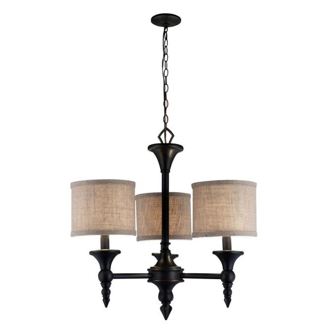 World Imports Jaxson Collection 3 Light Oil Rubbed Bronze Chandelier With Crafty Burlap Fabric