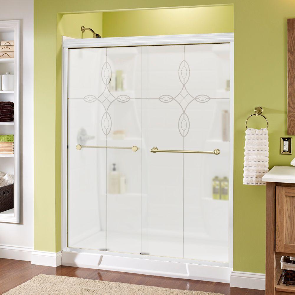 semi frameless single shower doors 2. Semi-Frameless Sliding Shower Door In White With Brass Handle And Tranquility Glass Semi Frameless Single Doors 2 S
