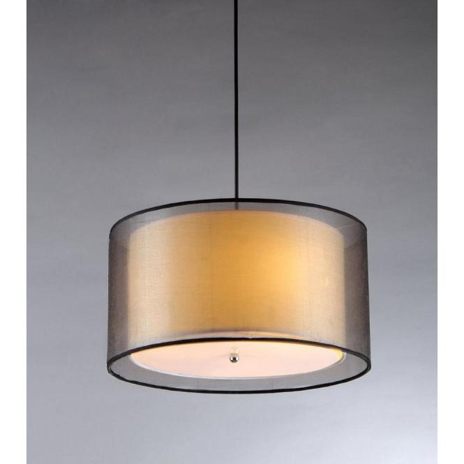 Warehouse Of Tiffany Fabiola 3 Light Black Brown Hanging Chandelier With Fabric Shade Rl1063 The Home Depot