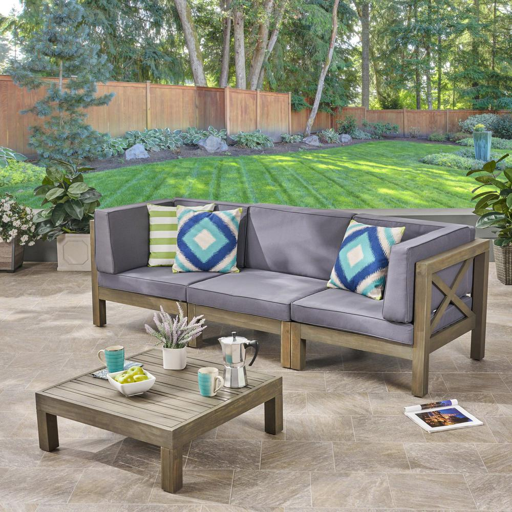 Noble House Hadlee Gray 4-Piece Wood Outdoor Sofa Set with ... on Outdoor Loveseat Sets  id=13553