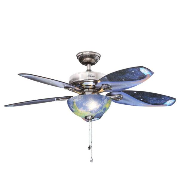 Ceiling Fan Globes Home Depot   Interior Design 3d     hunter discovery 48 in indoor brushed nickel ceiling fan with light rh  homedepot com Airplane Ceiling Fan Aircraft Ceiling Fans