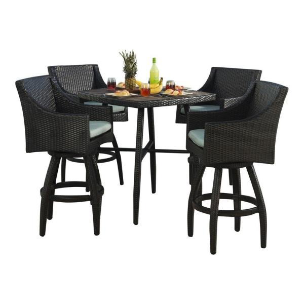 5 piece outdoor patio bar set RST Brands Deco 5-Piece All-Weather Wicker Patio Bar