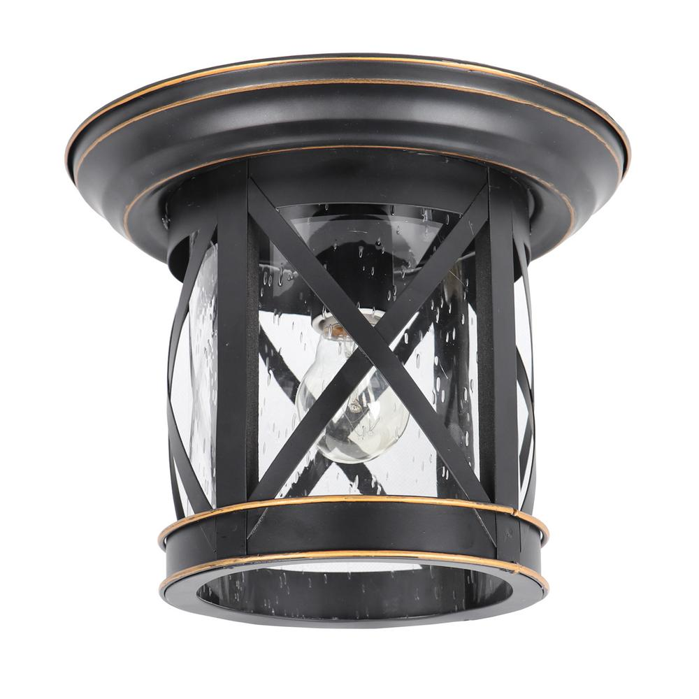 Y Decor Imperial Black 1 Light Outdoor Ceiling Mounted Flush Mount Light EL5041IB The Home Depot