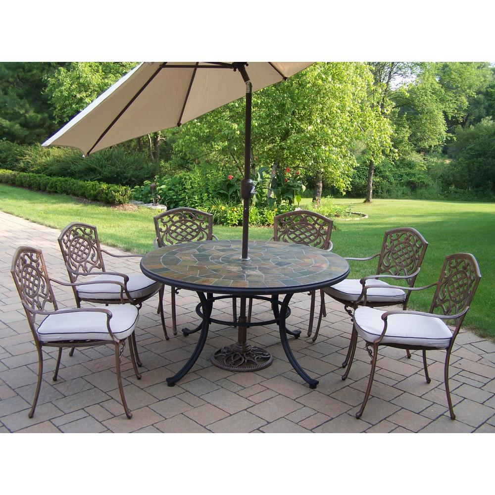 Oakland Living 9-Piece Metal Outdoor Patio Dining Set with ... on Ab And Outdoor Living  id=91403