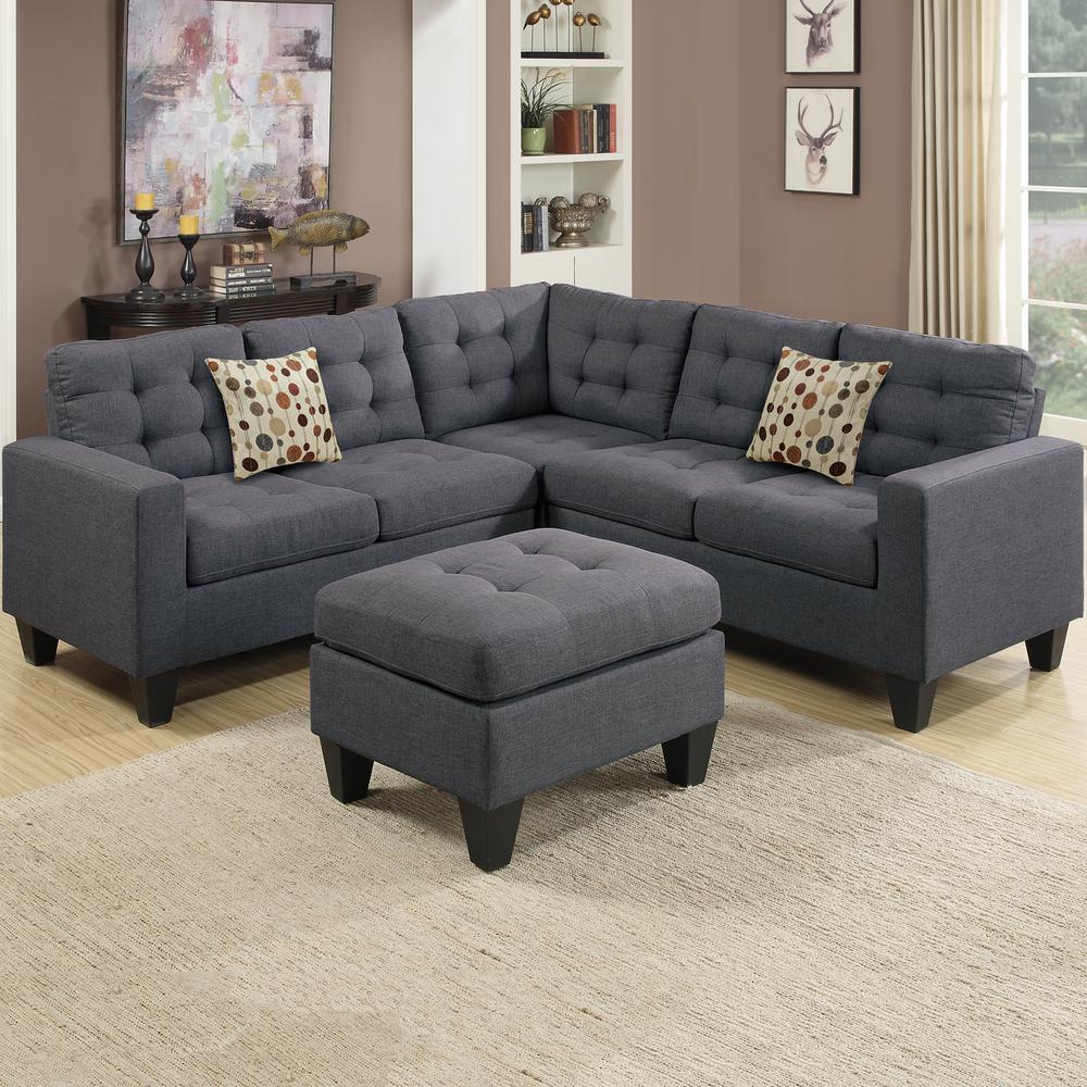 venetian worldwide milan 5 piece blue gray fabric 4 seater l shaped modular sectional sofa with ottoman vene f6935 the home depot