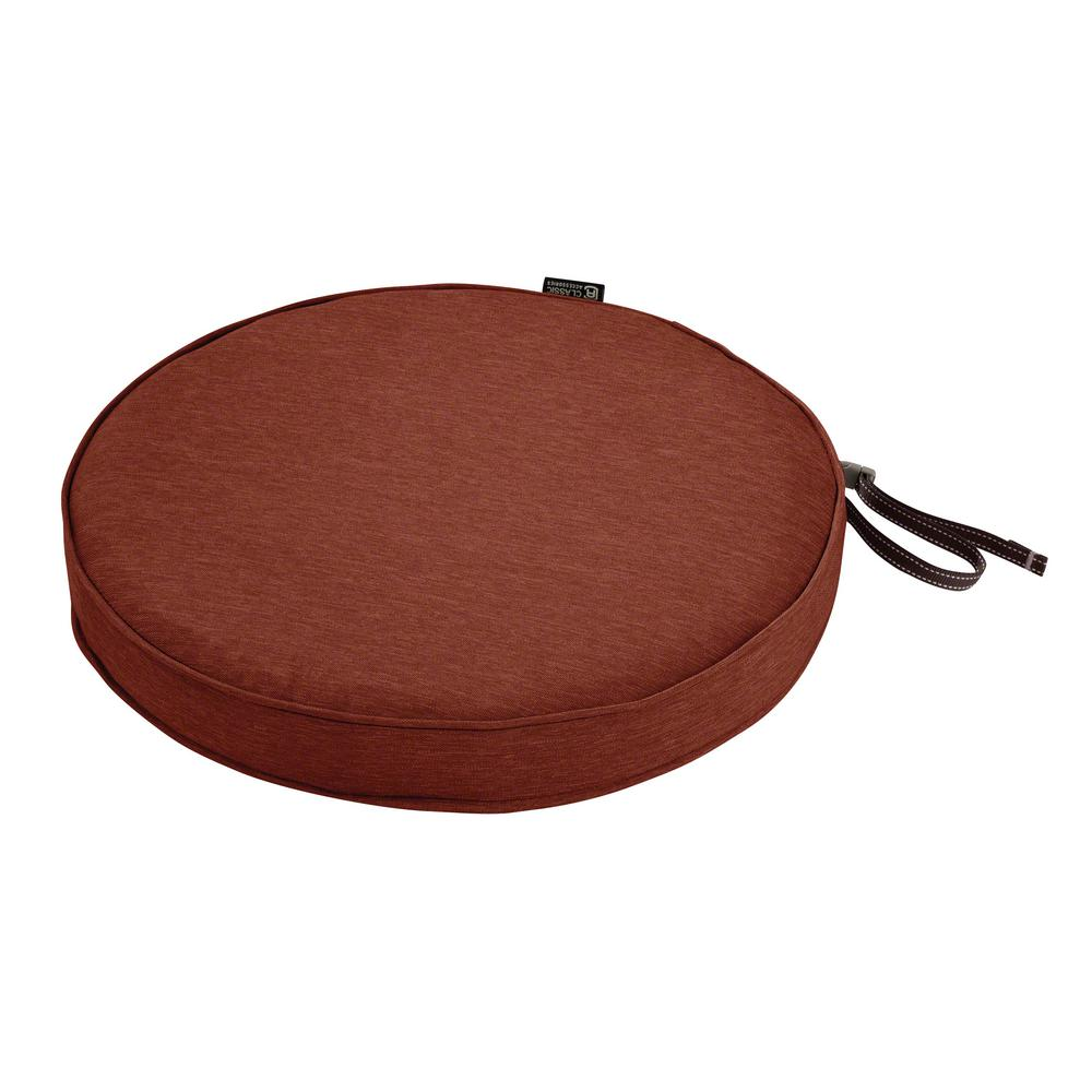 classic accessories montlake fade safe heather henna 15 in round outdoor seat cushion 62 002 hhenna ec the home depot