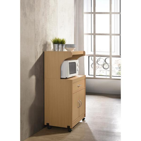 hodedah microwave cart with one drawer