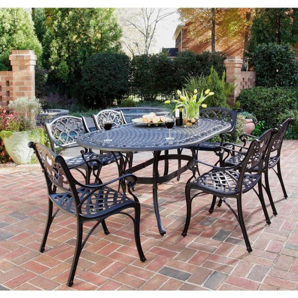 Home Styles Biscayne Black 7 Piece Patio Dining Set 5554 338   The     Home Styles Biscayne Black 7 Piece Patio Dining Set