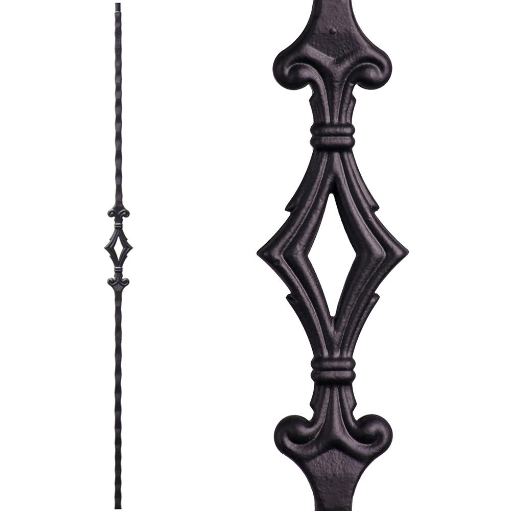 House Of Forgings Tuscan Square Hammered 44 In X 5625 In Satin   Wrought Iron Balusters Home Depot   Silver Vein   Oil Rubbed Bronze   Solid Wrought   Baluster Railing   Tuscan Round