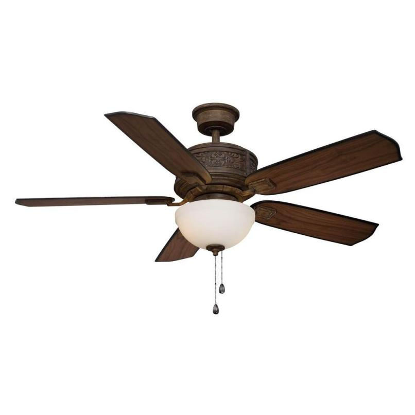 Dark Brown Ceiling Fan With Light