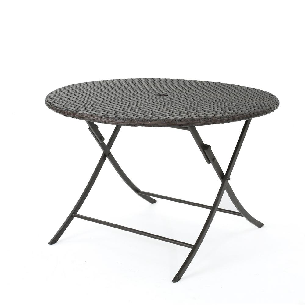 noble house dahlia multibrown circular folding wicker Circular Folding Dining Table id=27404
