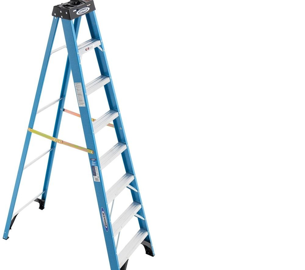 Werner 8 Ft Fiberglass Step Ladder With 250 Lb Load Capacity | Metal Steps Home Depot | Roofing | Galvanized Steel | Step Stool | Gorilla Ladders | Wrought Iron Railings