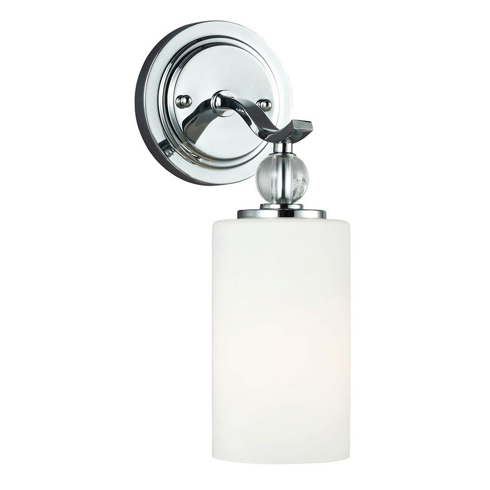 Sea Gull Lighting Englehorn 1-Light Chrome Wall/Bath ... on Bathroom Wall Sconce Lighting id=12449