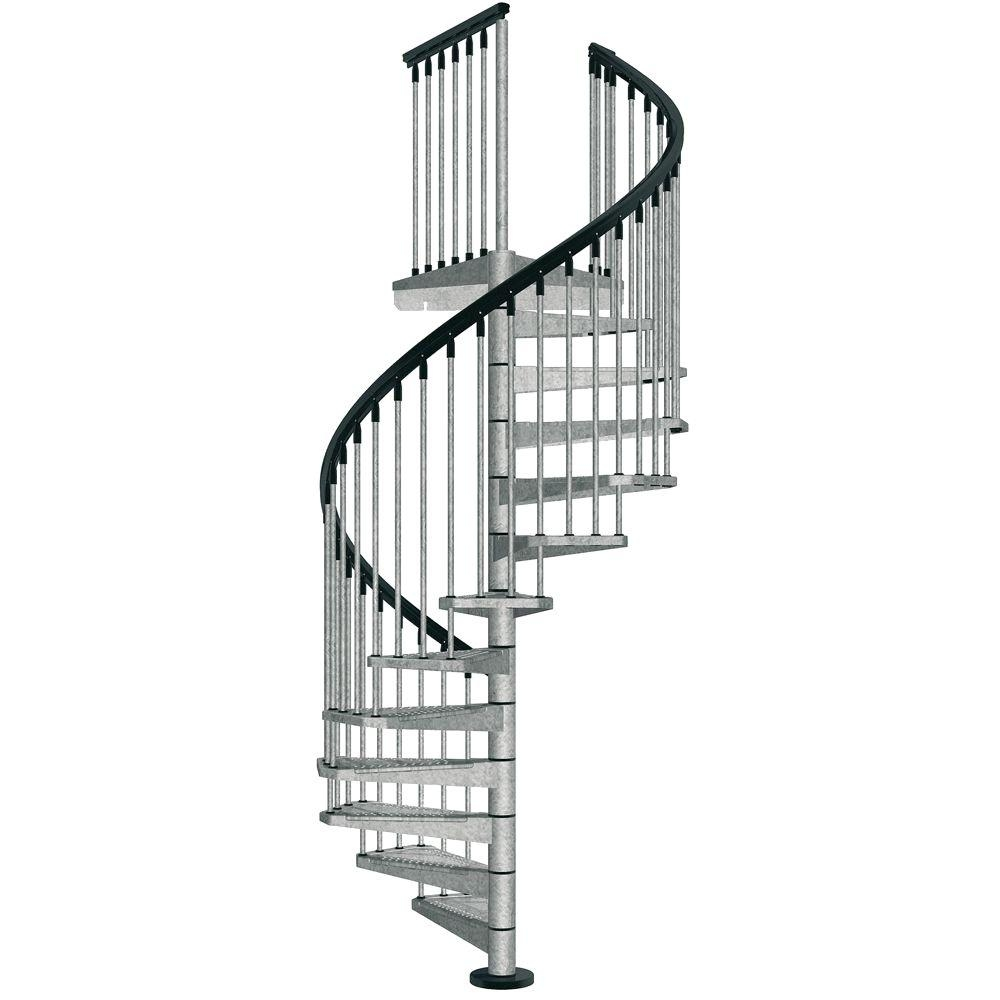 Arke Enduro 47 In Galvanized Steel Spiral Staircase Kit K05001 | Metal Staircases For Homes | Beam | Stainless Steel | Support | Statement | Metallic