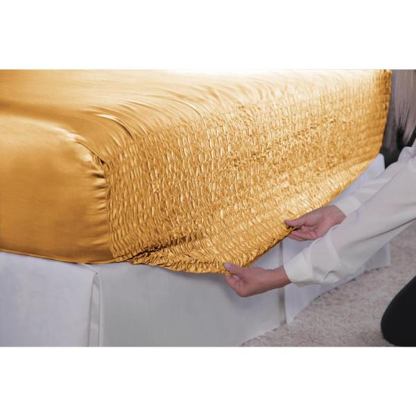 satin bed tite 4 piece gold solid 300 thread count california king sheet set