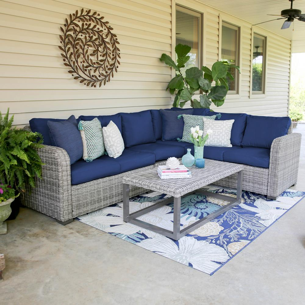 Leisure Made Forsyth 5-Piece Wicker Outdoor Sectional Set ... on 5 Piece Sectional Patio Set id=91563