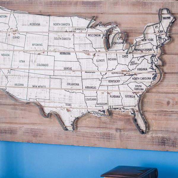 HD Decor Images » Litton Lane 36 in  x 22 in  Rustic Wood and Metal USA Map Wall Decor     Rustic Wood and Metal USA Map Wall