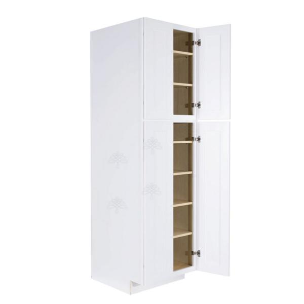 Lifeart Cabinetry Lancaster Shaker Assembled 30x90x27 In Tall Pantry Cabinet With 4 Doors In White Alw Pc3090 The Home Depot