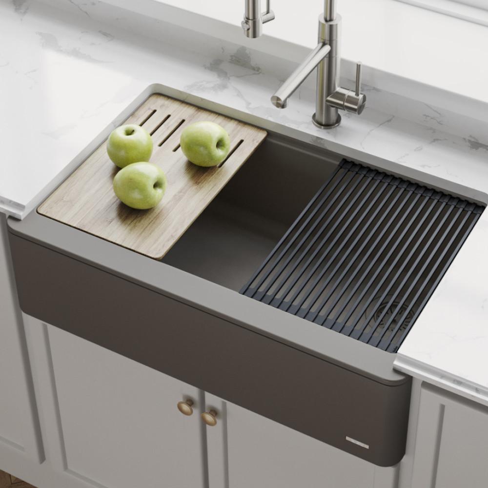 kraus bellucci farmhouse apron front granite quartz composite 33 in single bowl kitchen sink with cutting board in brown