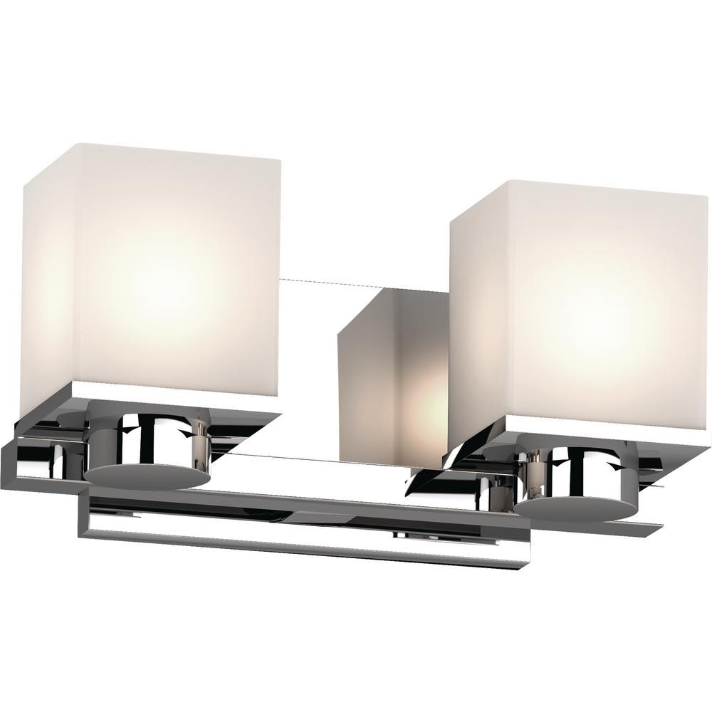 Volume Lighting Sharyn 2-Light 8 in. Chrome Indoor ... on Bathroom Wall Sconce Lighting id=14067