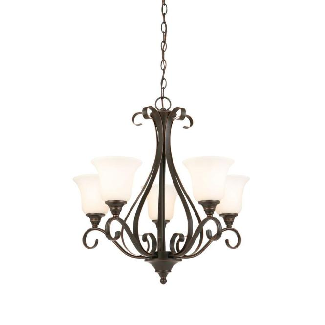 5 Light Oil Rubbed Bronze Chandelier With Frosted White Glass Shades