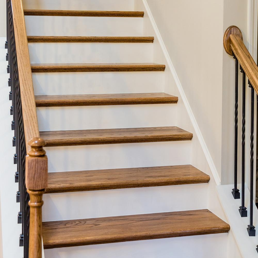 11 1 2 X 48 In Red Oak Engineered Tread 8530R 048 Hd00L The   Real Wood Stair Treads   Outdoor Rubber   Solid Oak   Acacia   Red Oak   Standard Length 48