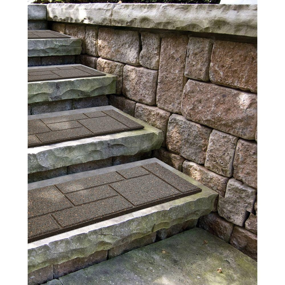 Envirotile Cobblestone 10 In X 24 In Earth Stair Tread 4 Pack | Outdoor Stair Treads Home Depot | Anti Slip Stair | Rugs | Non Slip | Tread Covers | Pressure Treated