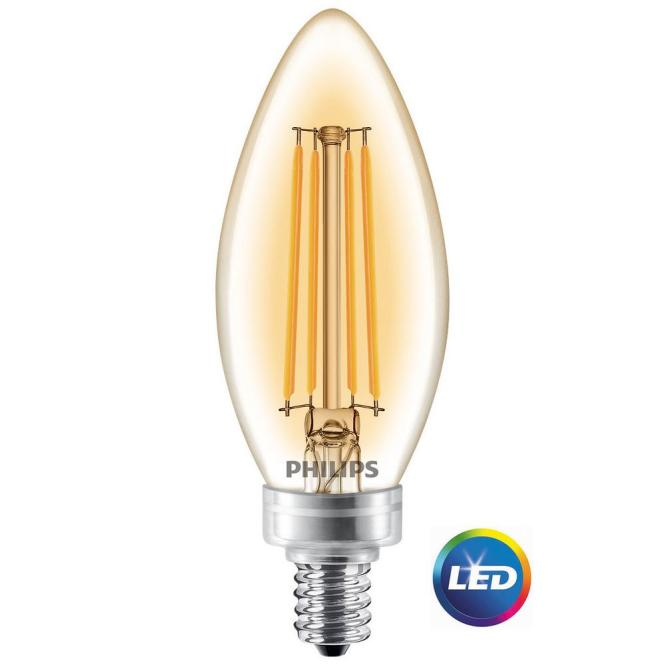 Philips 40w Equivalent Soft White Clear Classic Glass Dimmable B11 Led Bulb With Candelabra Base