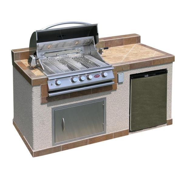 Cal Flame Outdoor Kitchen 4 Burner Barbecue Grill Island with     Cal Flame Outdoor Kitchen 4 Burner Barbecue Grill Island with Refrigerator