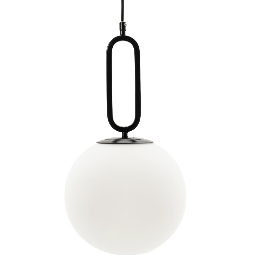 Vidalite Vidalite Modern Matte Black Glass Globe Pendant Light With Adjustable Height Wire With Frosted White Shade Ce1007802 The Home Depot