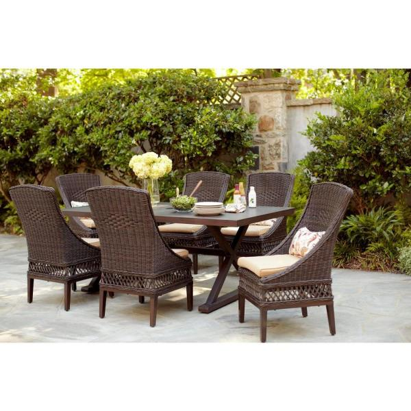 outdoor patio 7 piece dining set Hampton Bay Woodbury 7-Piece Wicker Outdoor Patio Dining