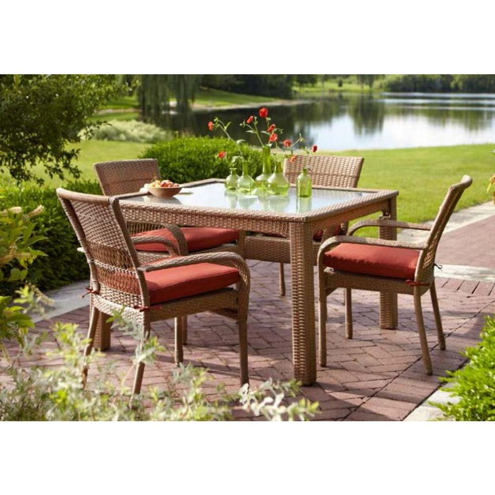Martha Stewart Living Charlottetown Natural 5-Piece All ... on Martha Stewart Wicker Patio Set id=63235