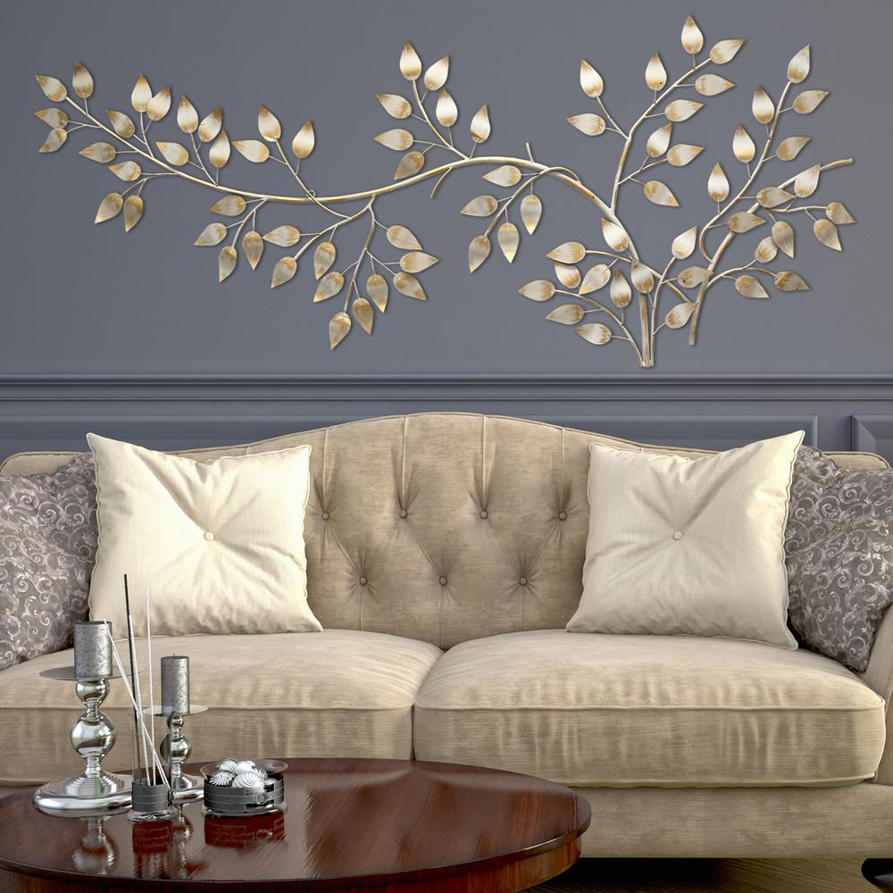 Stratton Home Decor Brushed Gold Flowing Leaves Wall Decor ... on Wall Decoration  id=59731