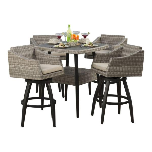 outdoor bar height patio dining sets Hampton Bay Rehoboth 3-Piece Wicker Outdoor Bar Height