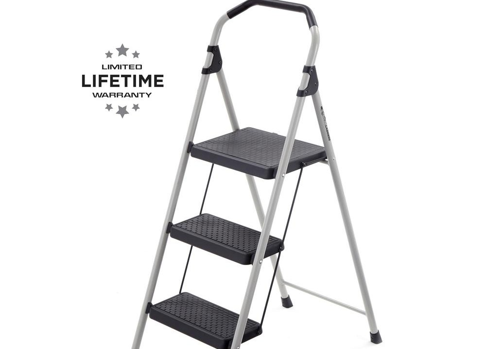Gorilla Ladders 3 Step Lightweight Steel Step Stool Ladder With   Metal Steps Home Depot   Wrought Iron Railings   Flashing   Step Stool   Deck Railing   Stair Treads