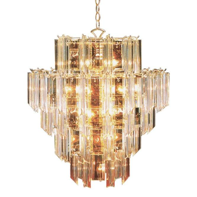 Bel Air Lighting 16 Light Bronze Chandelier With Beveled Acrylic Crystal Shades