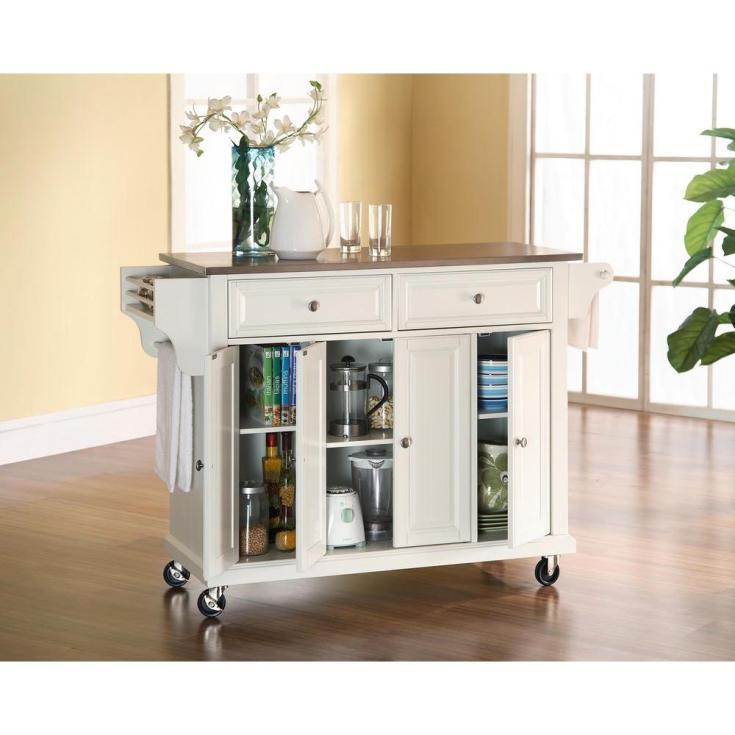 crosley cherry kitchen cart with black granite top-kf30004ech - the