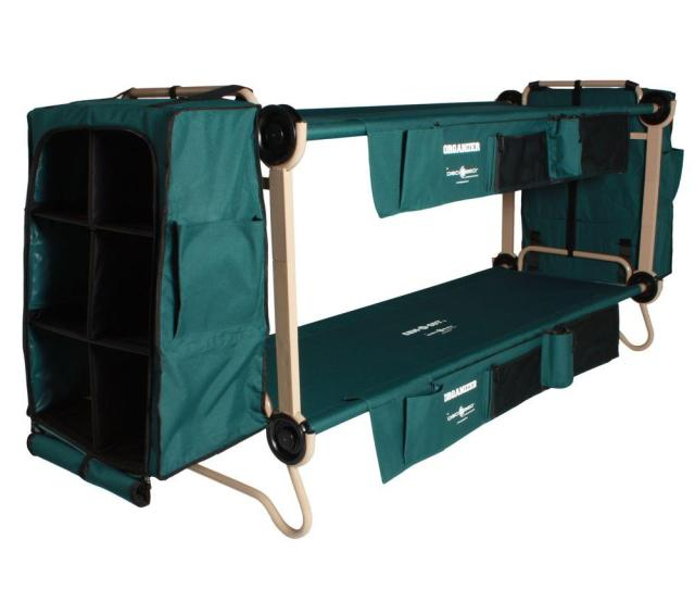 32 In Green Bunkable Beds With Leg Extensions Bed Side Organizers And Hanging Cabinets 2 Pack