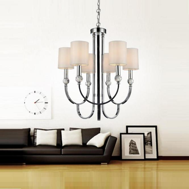 Crystal World Inc Lounge 6 Light Chrome Chandelier With Beige Shade 5305p24c The Home Depot