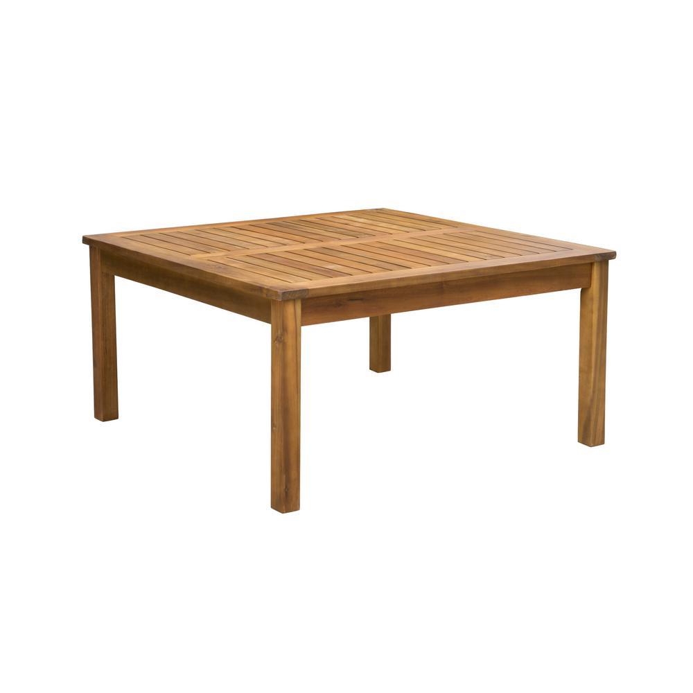 Noble House Giancarlo Square Wood Outdoor Coffee Table 9770 The Home Depot