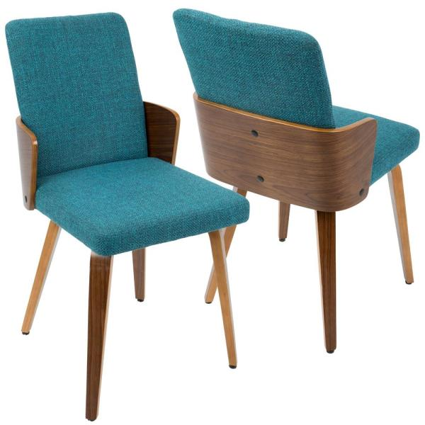 Lumisource Carmella Mid Century Modern Walnut and Teal Dining Chair     Lumisource Carmella Mid Century Modern Walnut and Teal Dining Chair  Set of  2