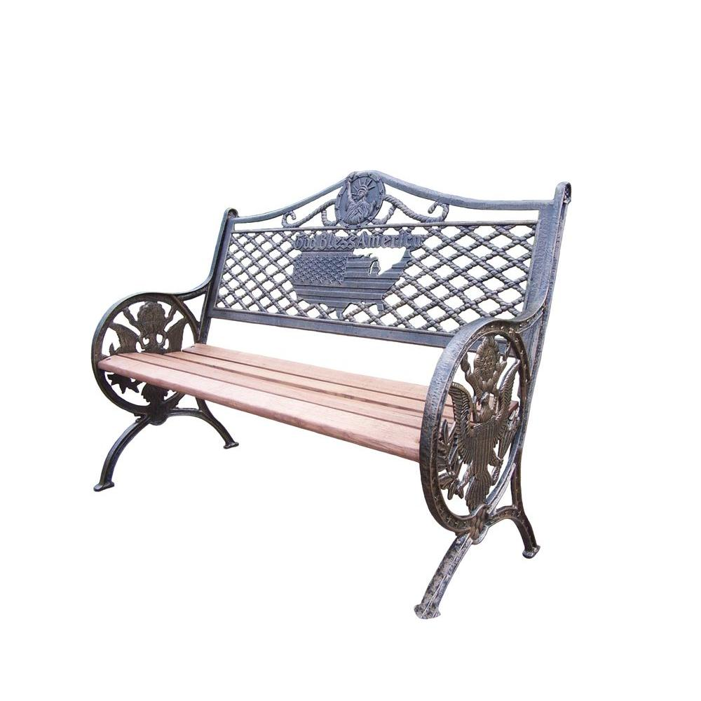 Oakland Living God Bless America Patio Bench-6074-AB - The ... on Ab And Outdoor Living  id=24778