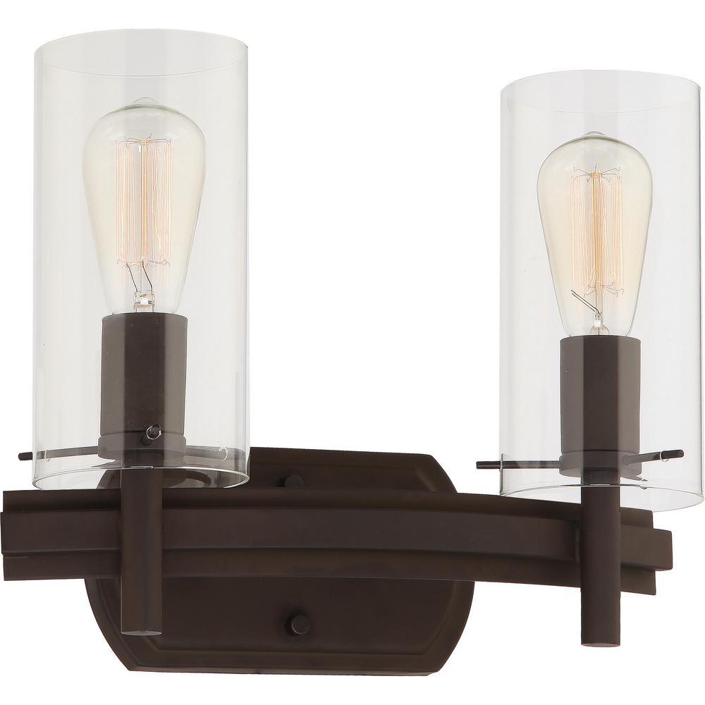 Volume Lighting Regina 2-Light 8 in. Antique Bronze Indoor ... on Bathroom Wall Sconce Lighting id=50643