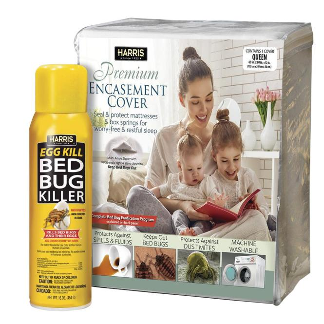Harris Queen Bed Bug Mattress Cover And Spray Value Pack