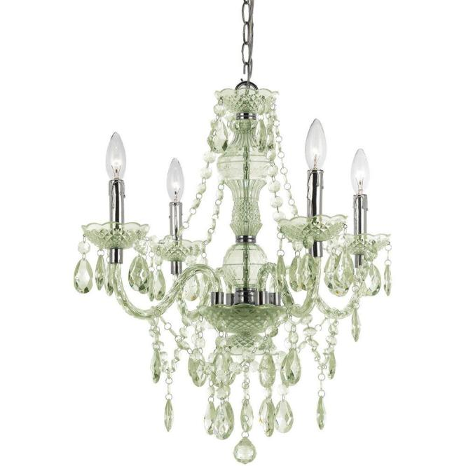 Naples 4 Light Chrome Mini Chandelier With Seafoam Green Plastic Bead Accents